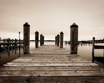 Docks to Lake Minnetonka, Wayzata MN,  sepia digital photo, office art, wall art, Minnesota, contemporary art