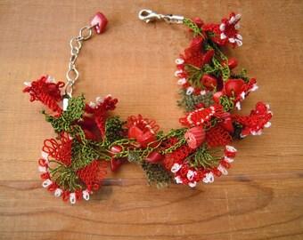 red flower bracelet, needle lace, coral, green, oya bracelet