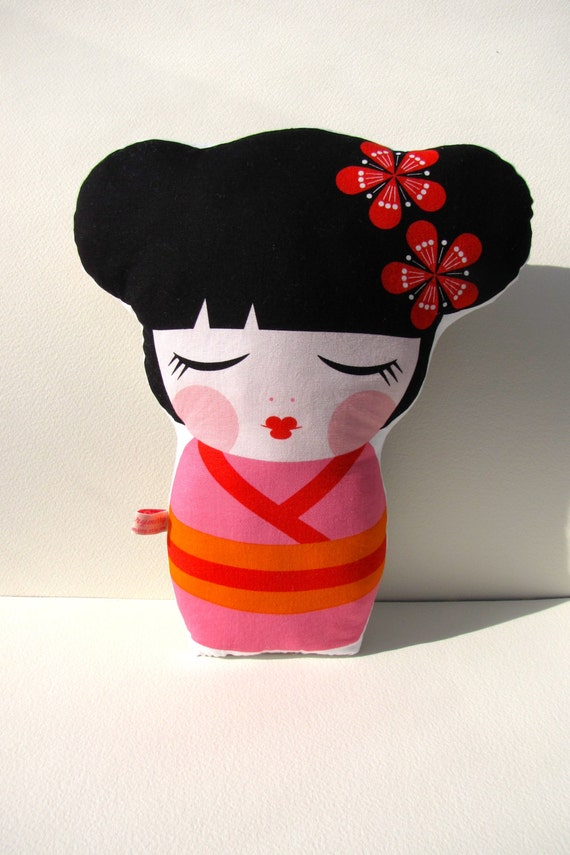 Japanese Doll Print Pillow. Fun Cushion.  Bright Pink Bold Multi Colours by mirrymirry