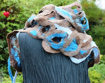 Felted wool scarf brown taupe duck egg teal blue, nuno, Quirky fiber art to wear lagenlook style OOAK