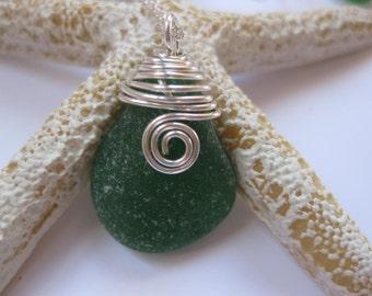 SS Sea glass pendant Sterling Silver Sea wire wrapped Beach Glass Jewelry, Handmade Custom Jewelry