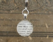 Cousin Charm Dictionary Word Clip-on Charm Antique Vintage Look Sing Singing Gift by Kristin Victoria Designs