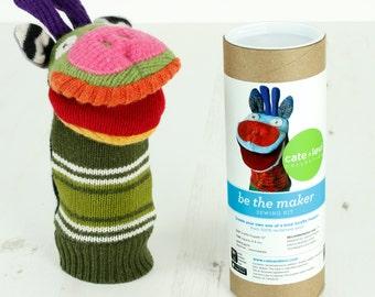 Cate and Levi Handmade Giraffe Puppet Making Kit (Premium Reclaimed Wool), Colors Will Vary