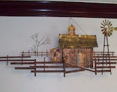 Signed C. Jere ~ Farm Scene mix metal wall sculpture with Windmill, mail box and Barn