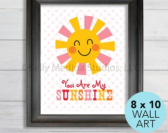 You Are My Sunshine Nursery Art Print, 8 x 10, Baby Children Wall Art Decor, Sunshine Wall Art by Kelly Medina