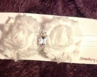 White Shabby Rosette Headband