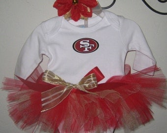 49ers Tutu Outfit with Name on Back, 49ers Outfit, San Francisco 49ers