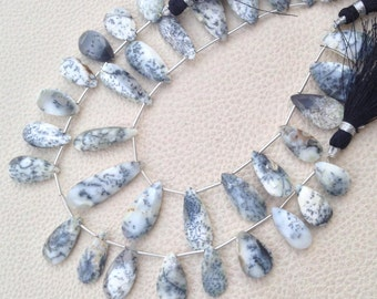 RARE, AAA Grade Dendritic OPAL Faceted Pear Shape Briolettes, Full 8 Inch Strand, 15-20mm Long,Great Price