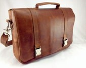 "DIAZ 17"" Genuine Leather Messenger / Laptop Satchel / Briefcase Crossbody Bag in Crazy Horse Tanned Brown"