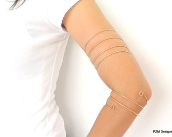 Double wrapped armlet, bronze upper arm coil bracelet, above the elbow cuff