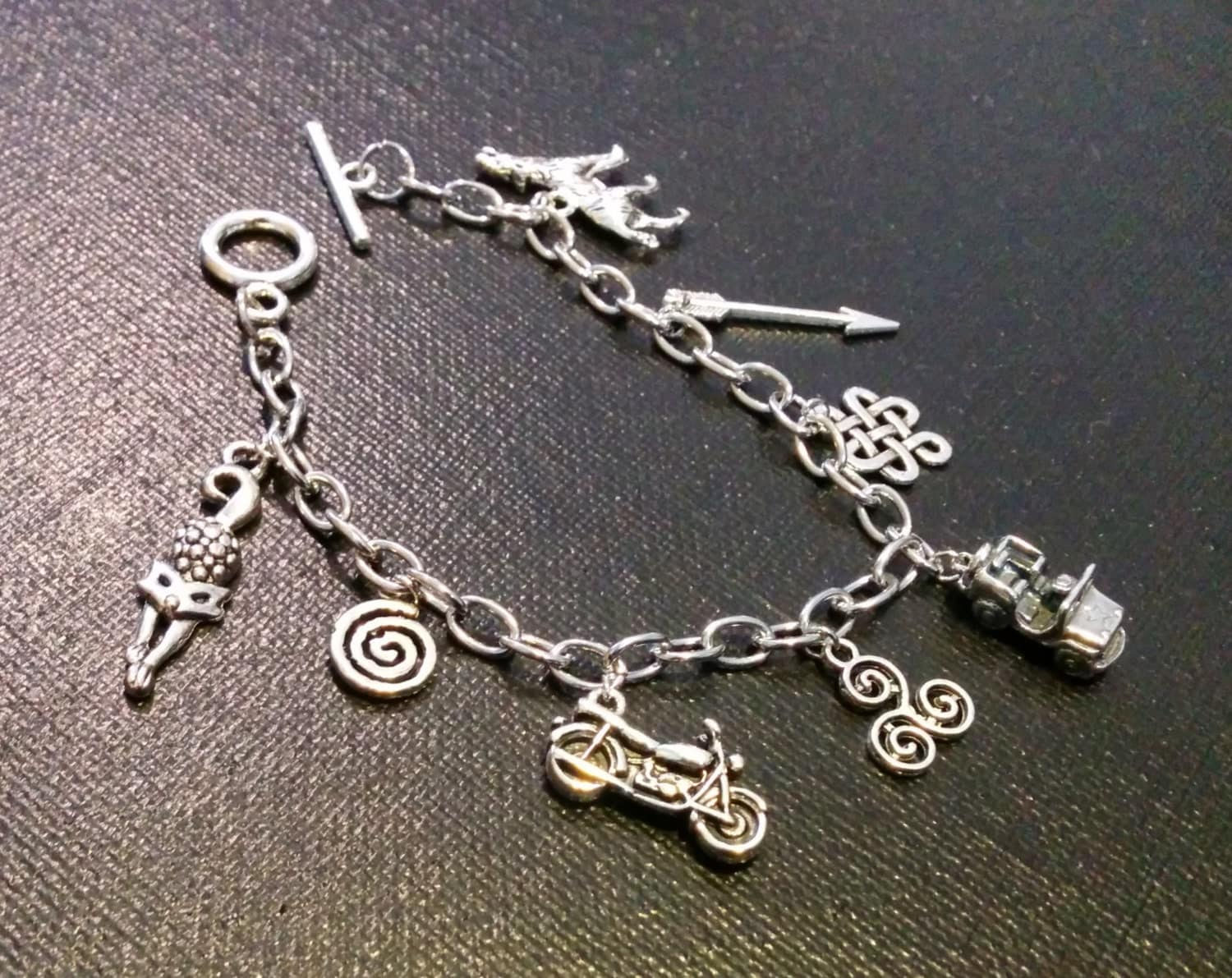 wolf inspired charm bracelet by number12creations on etsy