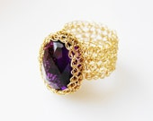 Oval Amethyst Ring, Purple Amethyst Ring, Purple Gemstone Ring, Cocktail Ring, Purple Gold Ring, Gold Wide Band Ring