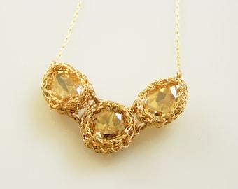 Swarovsky Crystal Necklace,  Triplet Necklace, Bridal Swarovski Necklace, Triplets Necklace, Crystal Gold Necklace