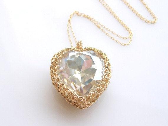 Swarovski Crystal Heart Pendant,  Crystal Heart Necklace, Swarovski Heart Necklace, Valentines Day Gift, Crochet Heart Necklace