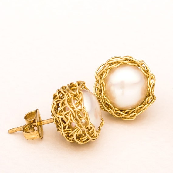 Freshwater Pearl Stud Earring Bride Earrings Bridal Pearl Earrings Pearl Gold Earrings Pearl Post Earring