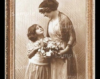 Mother Daughter Miniature Dollhouse Art Picture 1120
