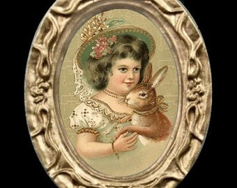 The Easter Bunny Girl Miniature Dollhouse Art Picture 6828