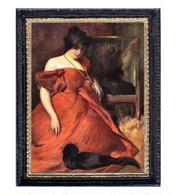 Victorian Lady In Red With Black Cat Miniature Dollhouse Art Picture 6772
