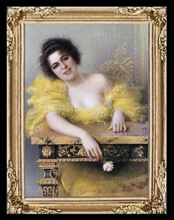 1800's Lady In Yellow Miniature Dollhouse Art Picture 6539