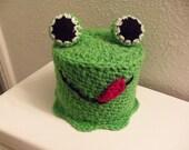 Crochet Green Frog Bathroom Tissue Cover,  Crochet Bathroom Tissue Cozy, Toilet Paper Roll Cover, Frog With Big Eyes Bathroom Roll Cover