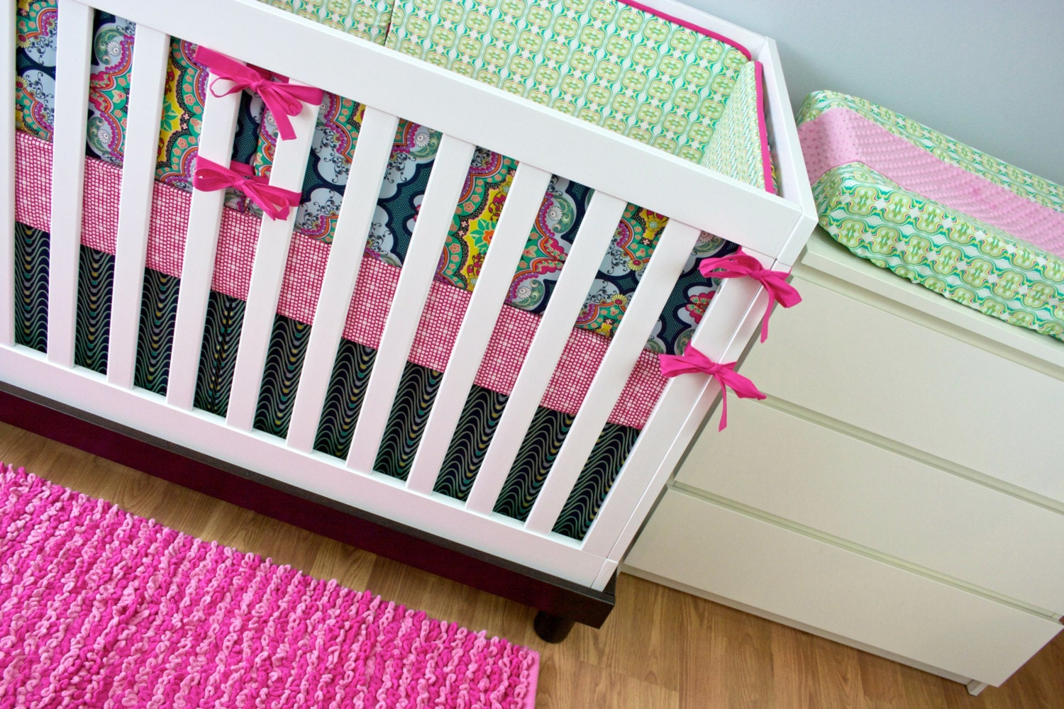 baby bedding crib bedding pink green navy citron by modifiedtot. Black Bedroom Furniture Sets. Home Design Ideas