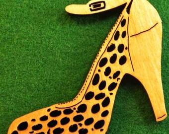 Wood High Heel Shoe Ornament