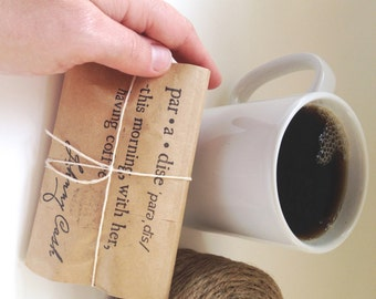 Coffee Wedding favors. Unique wedding favors. Freshly roasted and handmade with love. Set of 25 Johnny Cash Quote or  Love is Brewing