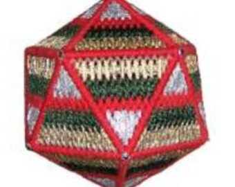 Plastic Canvas Icosahedron Christmas Ball Instant Download