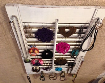 Upcycled Jewelry Organizing Display (White Window Shutter)