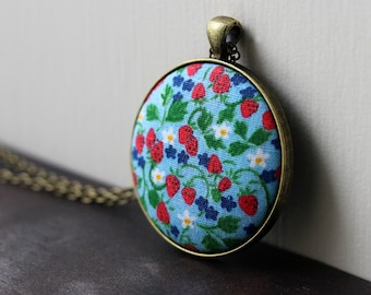 Strawberry Necklace, Vintage Fabric Jewelry, Floral, Fruit, Garden, Blue and Red Pendant