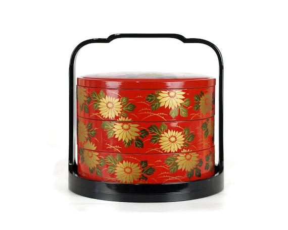 vintage bento box jubako japanese stacking lunch box. Black Bedroom Furniture Sets. Home Design Ideas