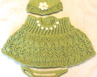 Baby Girl Crocheted top, hat and diaper cover set