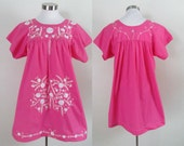 Vintage Pink Embroidered Oaxacan Dress 1960s Ethnic Boho