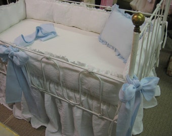 Washed Linen Crib Bedding-Vintage White Ruffled Bumpers and Storybook Crib Skirt-Light Blue Over Sized Sashes and Crib Pillow