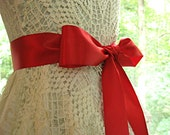 Red / Scarlet / Christmas Red wedding sash, bridal sash, bridesmaid sash, bridal belt, 2.25 inch satin
