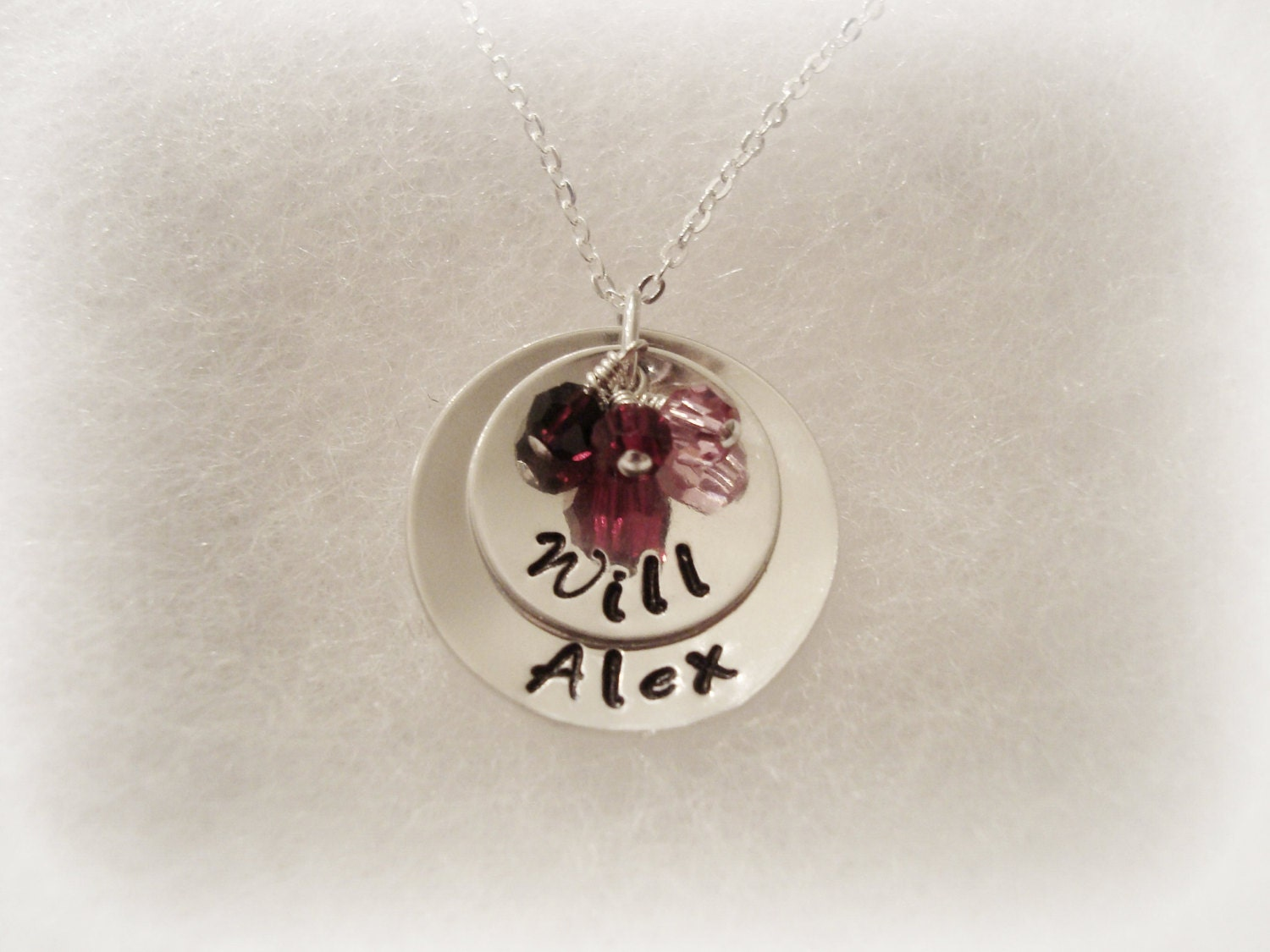 Sterling Silver Double Disc Handstamped Necklace with 3 Swarovski Crystals