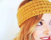 Holiday Sale 25% Off Hand Knit Mustard Ribbed Headband
