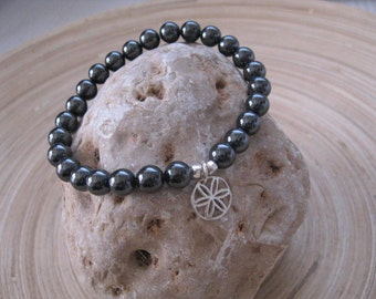 Mens Bracelet, Beaded Bracelet, Hematite Metallic Jewelry, Flower of Life Charm, Seed of Life Mala Bracelet, 7mm Hematite Beads