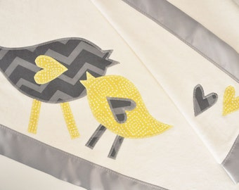 Personalized Organic Baby Blanket with Retro Birds -- Gray and Yellow