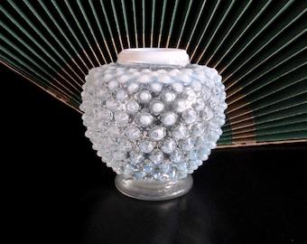 Vintage Opalescent Moonstone Hobnail Rose Vase