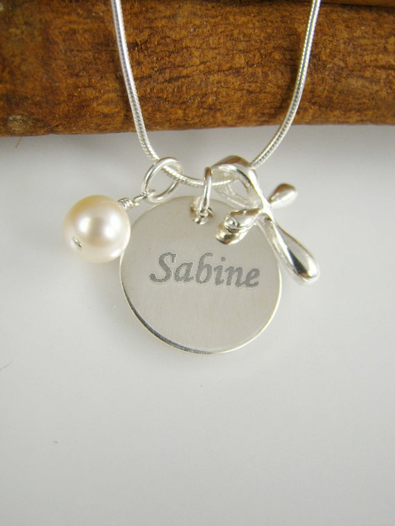 Girl Baptism Gift Cross Necklace Name And By