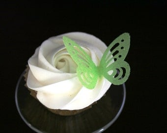edible wafer paper butterfly, 100 Wafer Lacey Butterflies in Pink, Lavender, Blue, Lime-green, Yellow colors