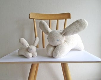 Bunny, mama and baby set, organic, cuddly, soft, natural, Waldorf style, eco-friendly, white, cotton, wool, Easter