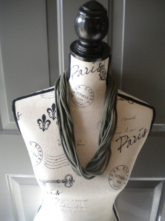 Jersey Scarf Necklace in Olive Green