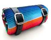 Leather Blanket Roll Camping Gear, Hiking Gear, Horseback Riding, Serape Blanket, Outdoors, Beach