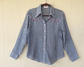 Vintage Men's Western Shirt, Sears Perma-Prest Shirt, Size 16