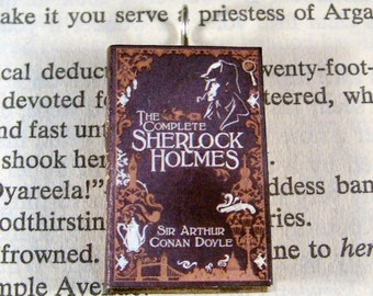 Miniature Classic Novels Book Necklace Charm The Complete Sherlock Holmes