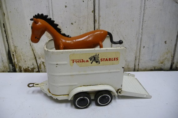 Vintage Toy Horse Trailer Tonka Steel Metal 60 S