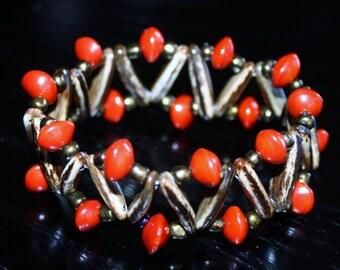 Natural seed beaded elastic bracelet