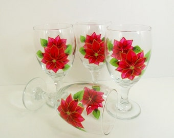 Poinsettia Goblets Water Glasses Red Gold Trimmed Hand Painted Set of 4